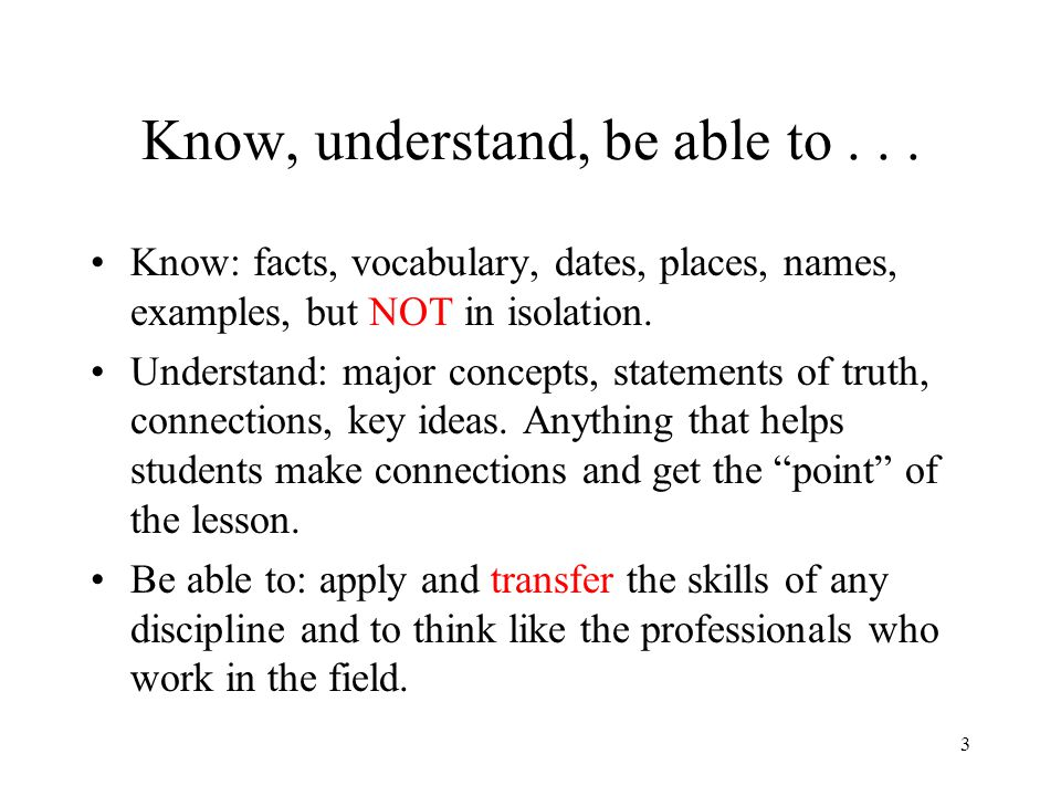 Know, understand, be able to . . .