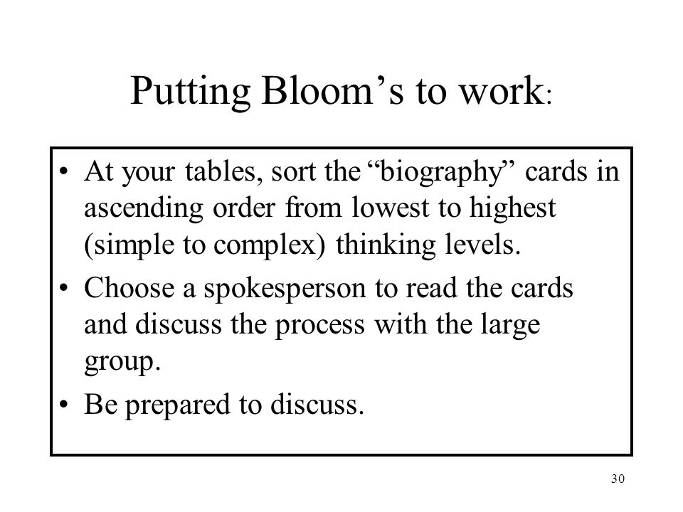 Putting Bloom's to work: