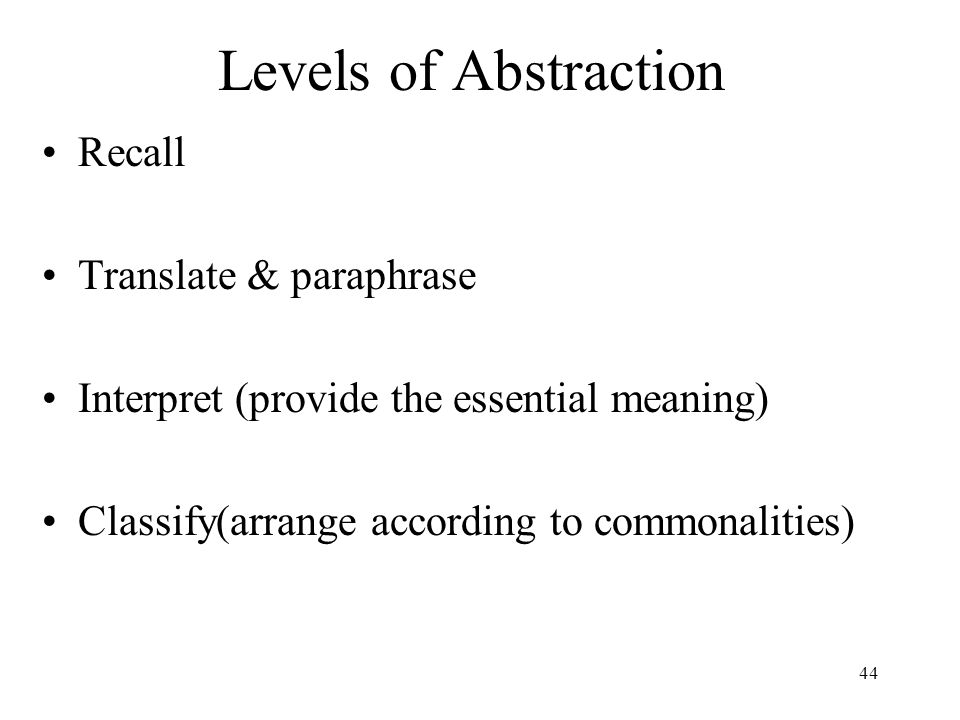 Levels of Abstraction Recall Translate & paraphrase