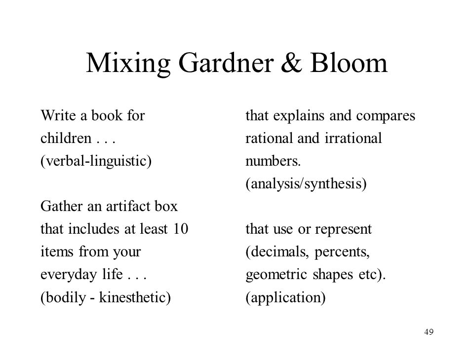 Mixing Gardner & Bloom Write a book for children . . .