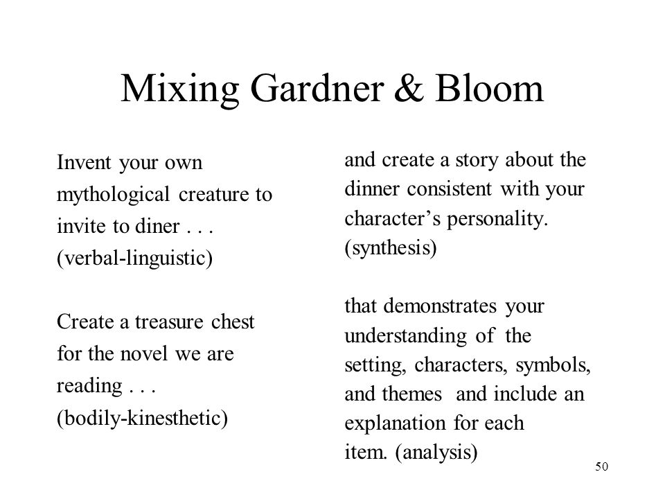 Mixing Gardner & Bloom Invent your own mythological creature to