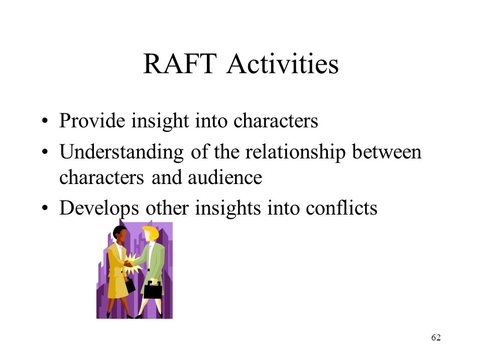 RAFT Activities Provide insight into characters