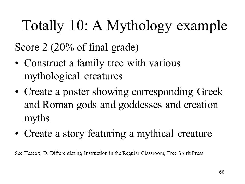 Totally 10: A Mythology example