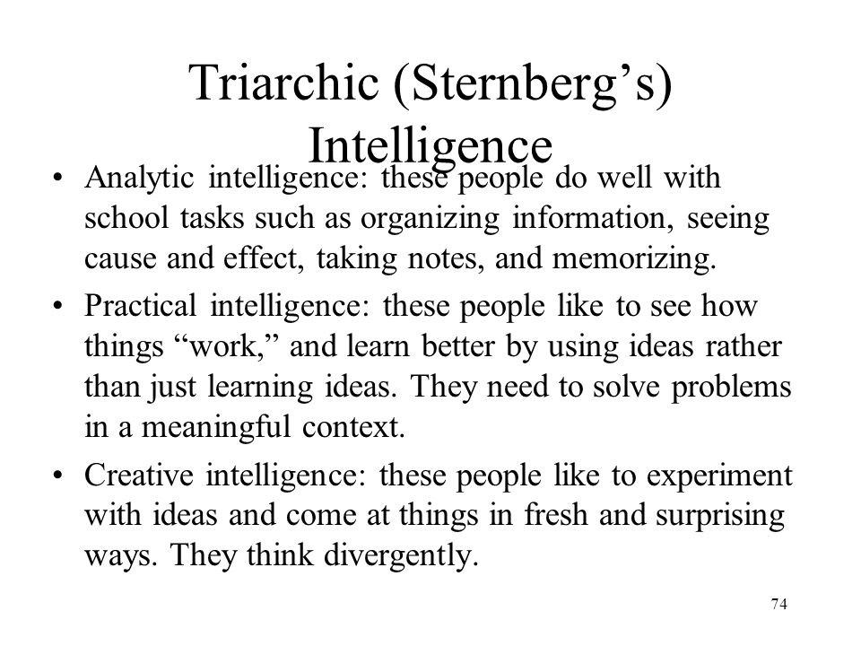 Triarchic (Sternberg's) Intelligence