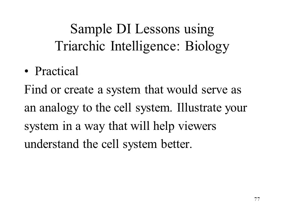 Sample DI Lessons using Triarchic Intelligence: Biology