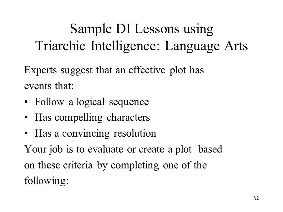 Sample DI Lessons using Triarchic Intelligence: Language Arts