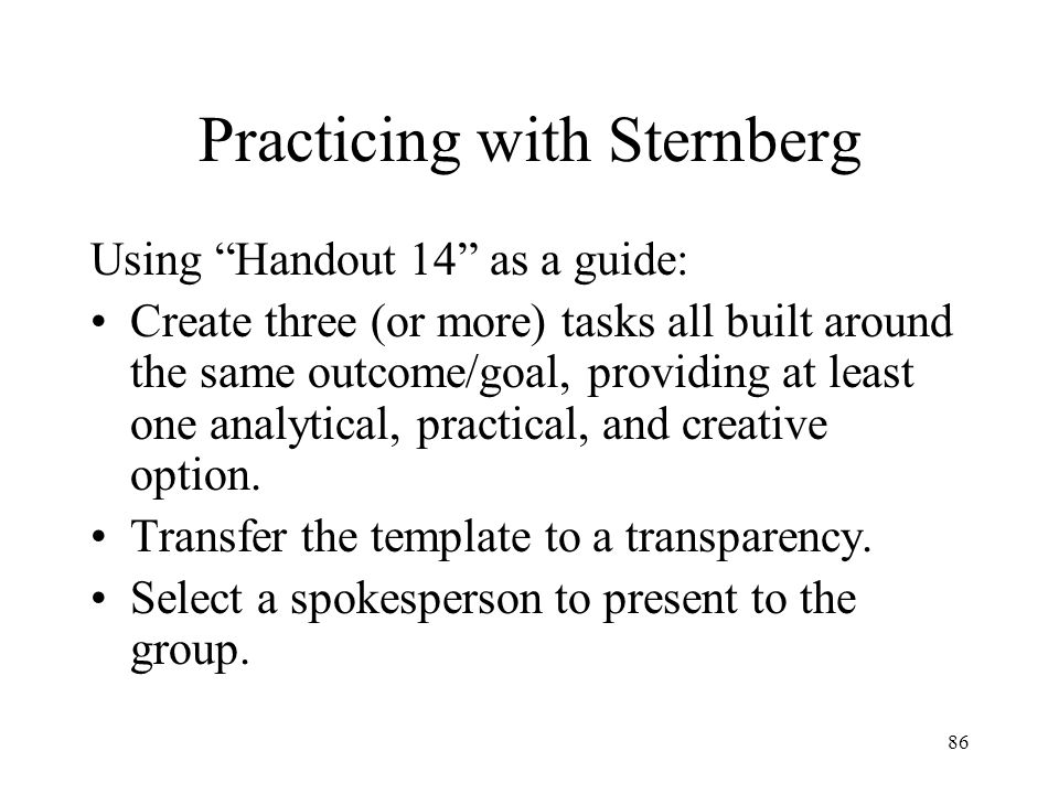 Practicing with Sternberg