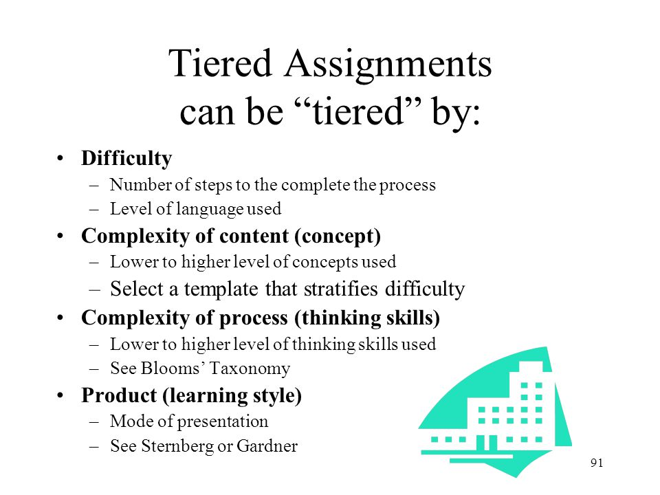 Tiered Assignments can be tiered by: