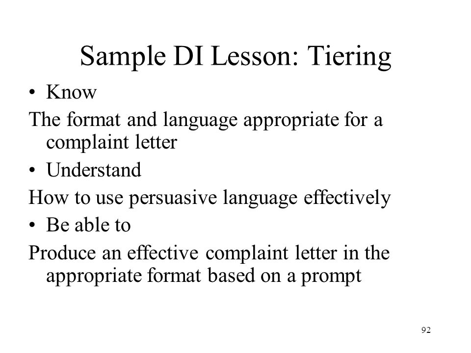 Sample DI Lesson: Tiering