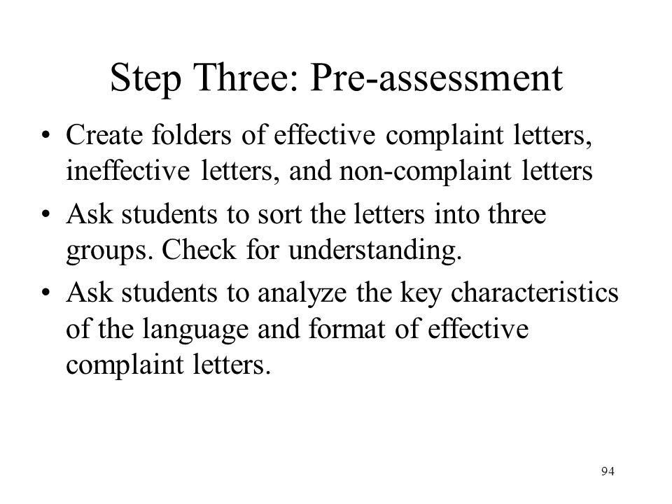 Step Three: Pre-assessment