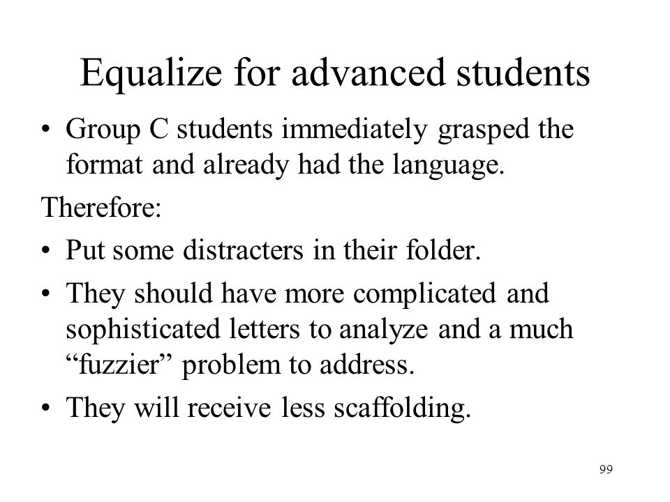 Equalize for advanced students