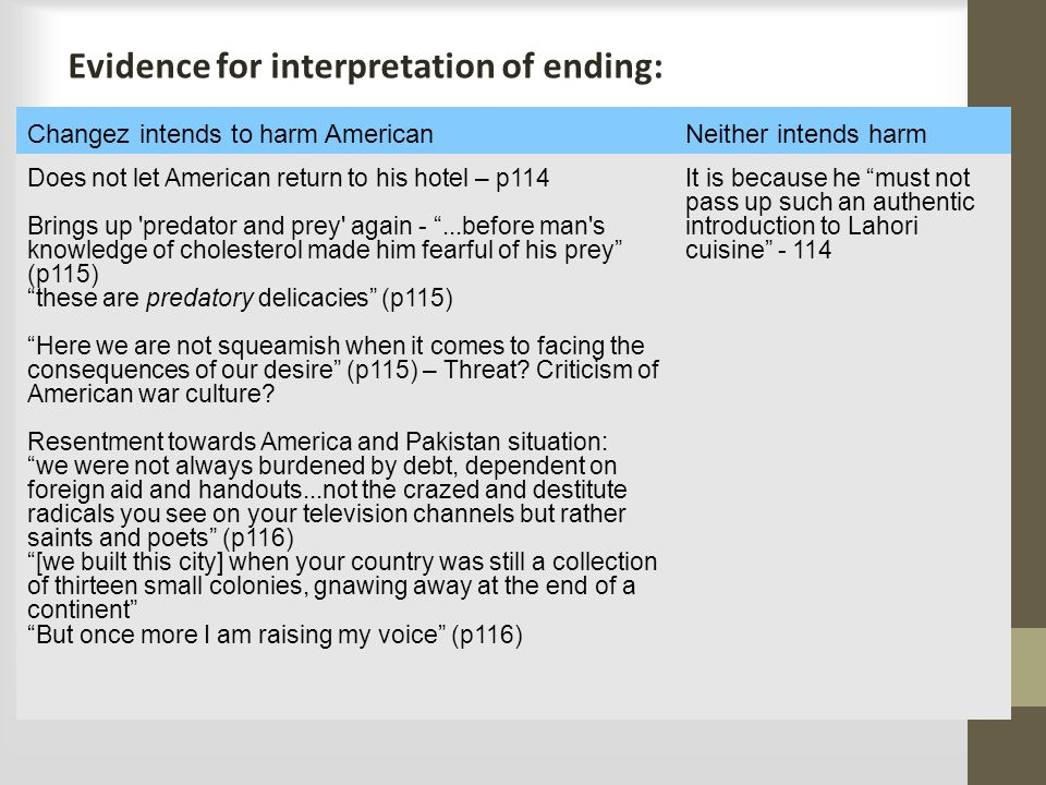 Evidence for interpretation of ending: