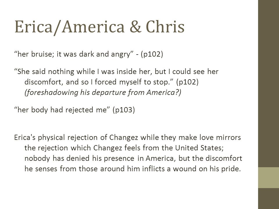 Erica/America & Chris her bruise; it was dark and angry - (p102)