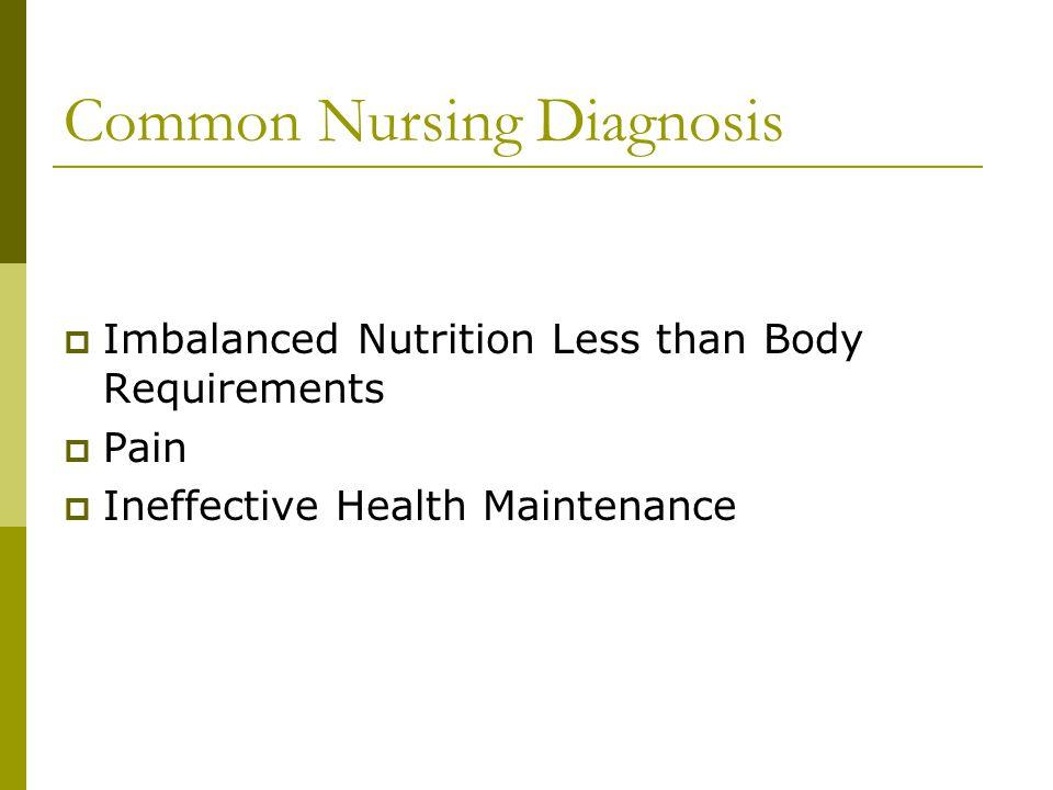 Common Nursing Diagnosis