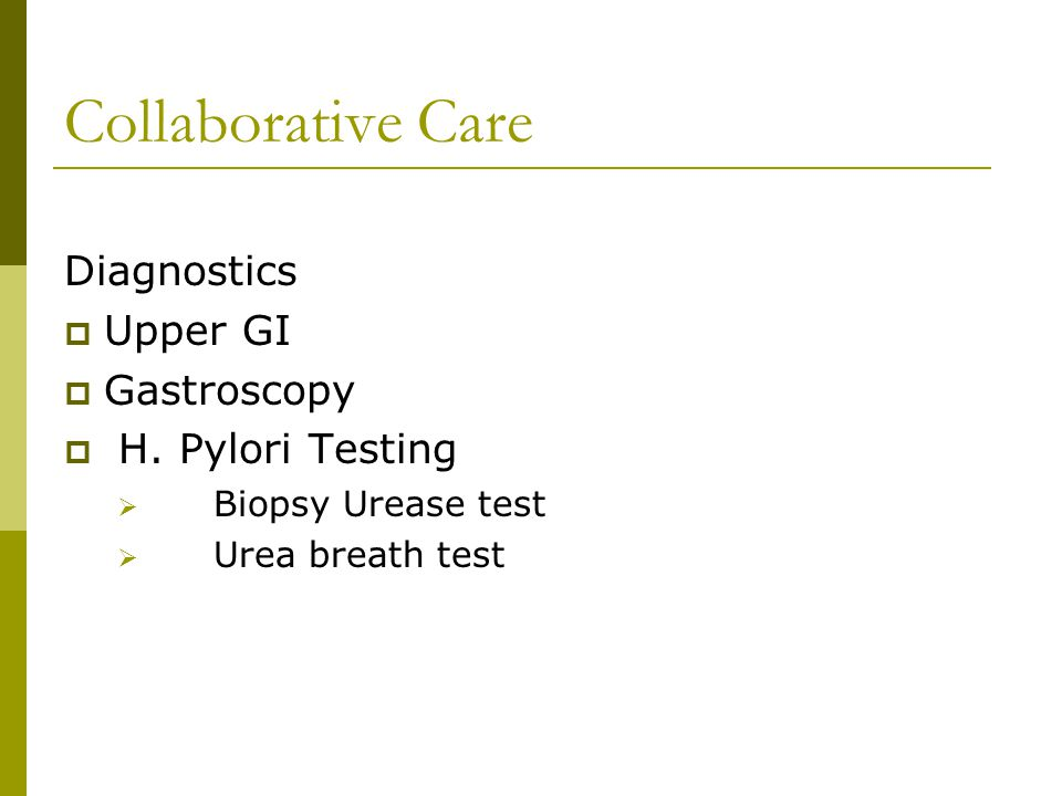 Collaborative Care Diagnostics Upper GI Gastroscopy H. Pylori Testing