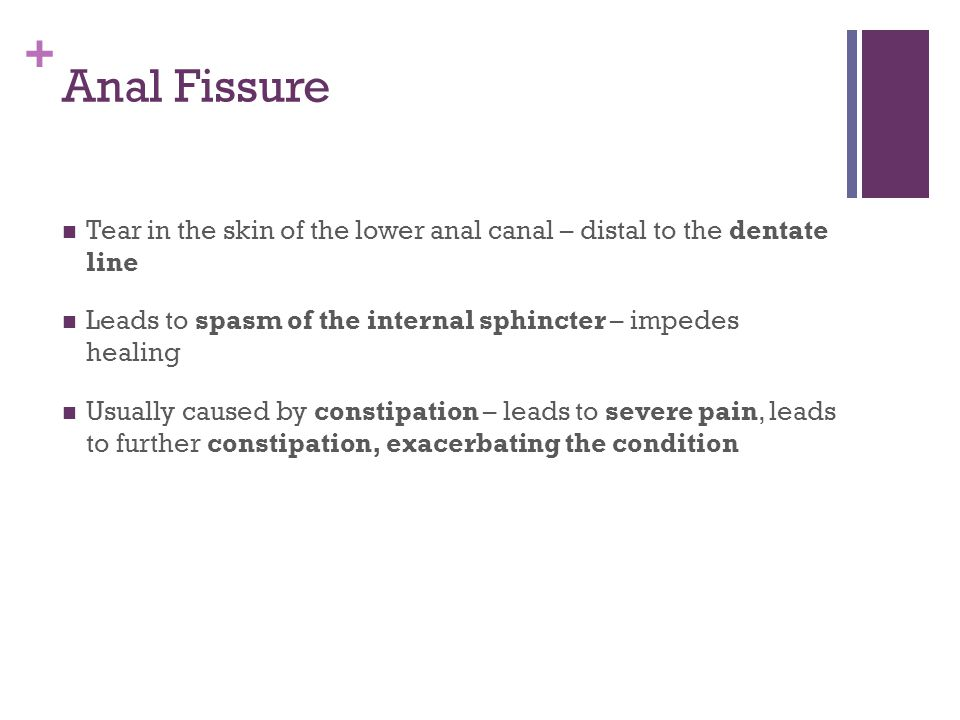 Anal Fissure Tear in the skin of the lower anal canal – distal to the dentate line. Leads to spasm of the internal sphincter – impedes healing.