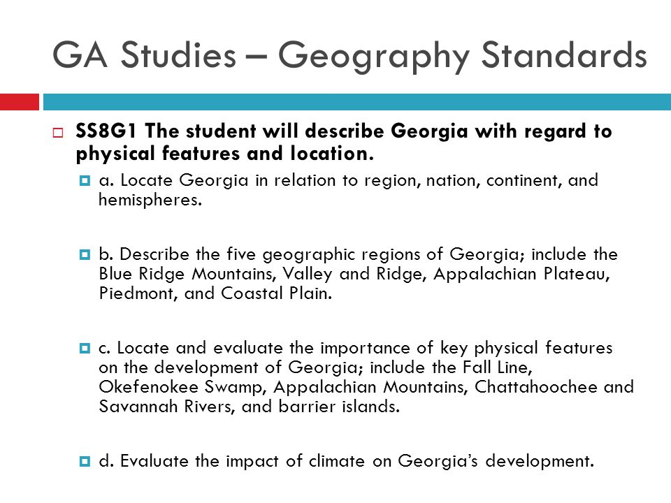 GA Studies – Geography Standards