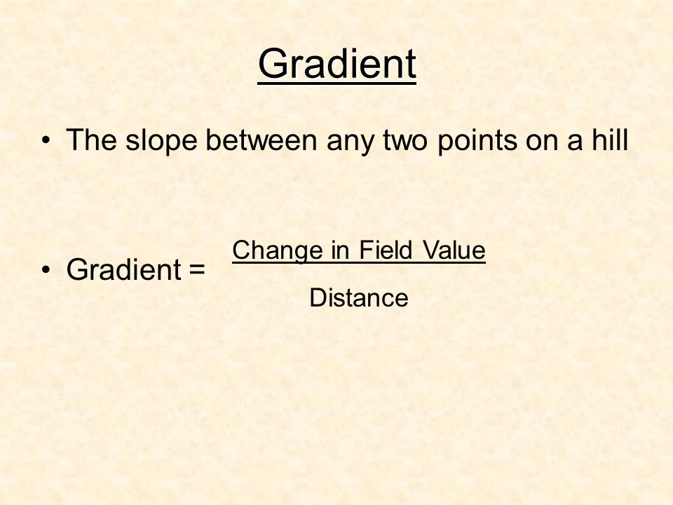 Gradient The slope between any two points on a hill Gradient =