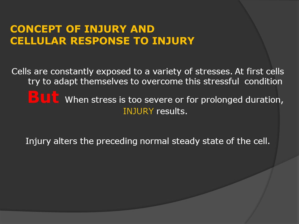 Injury alters the preceding normal steady state of the cell.