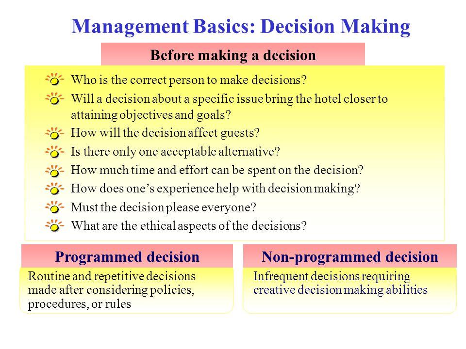 Management Basics: Decision Making
