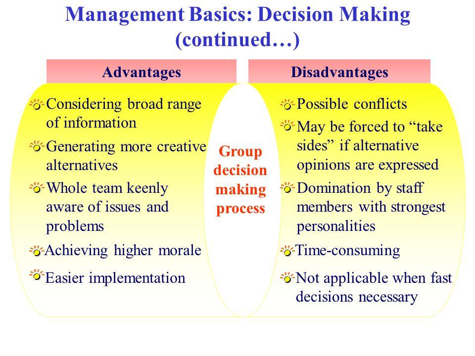 Management Basics: Decision Making (continued…)