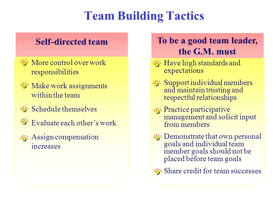 To be a good team leader, the G.M. must