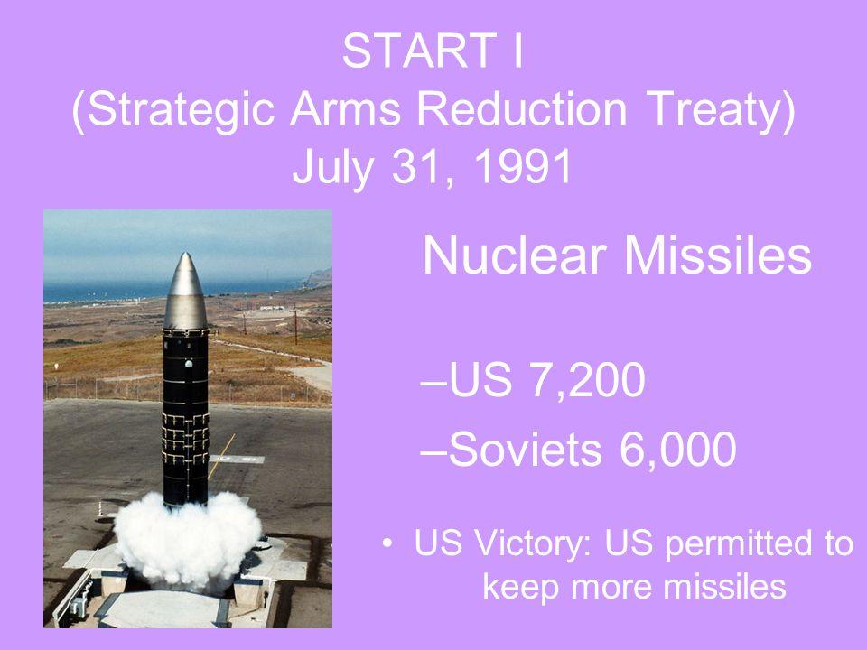 START I (Strategic Arms Reduction Treaty) July 31, 1991