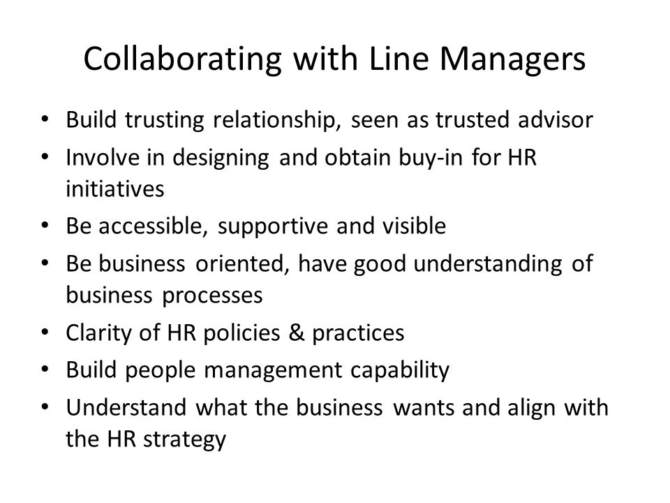 Collaborating with Line Managers