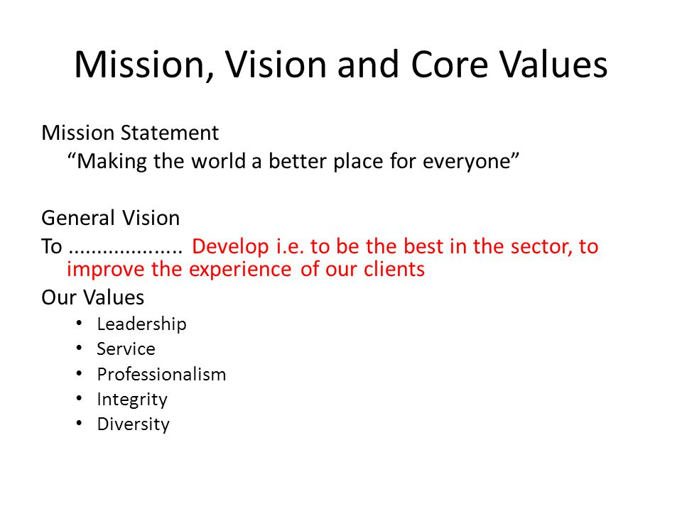 Mission, Vision and Core Values