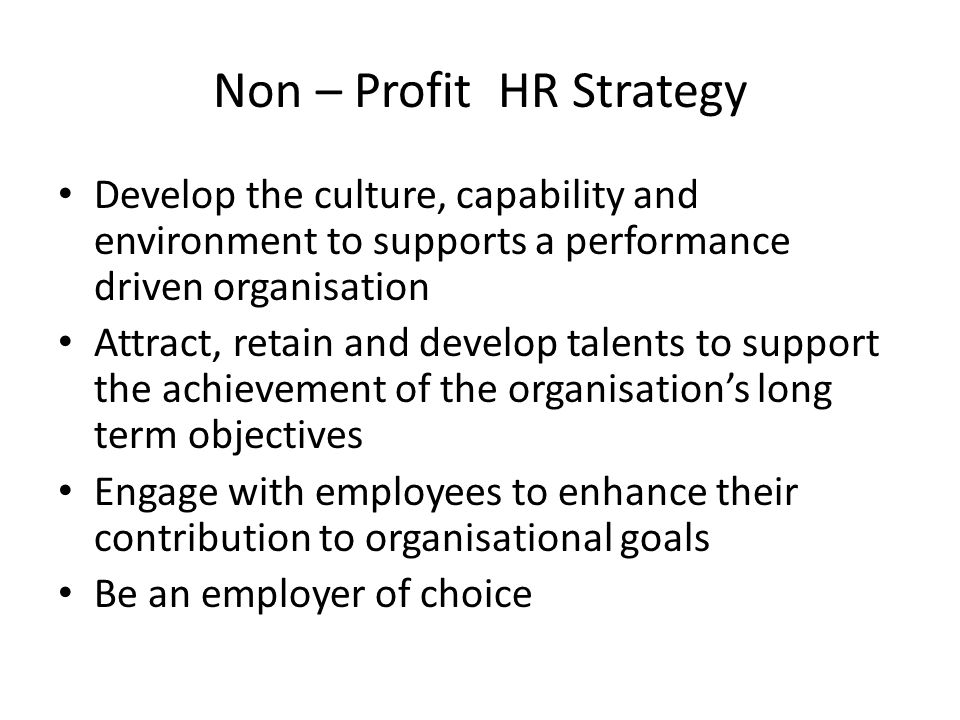 Non – Profit HR Strategy