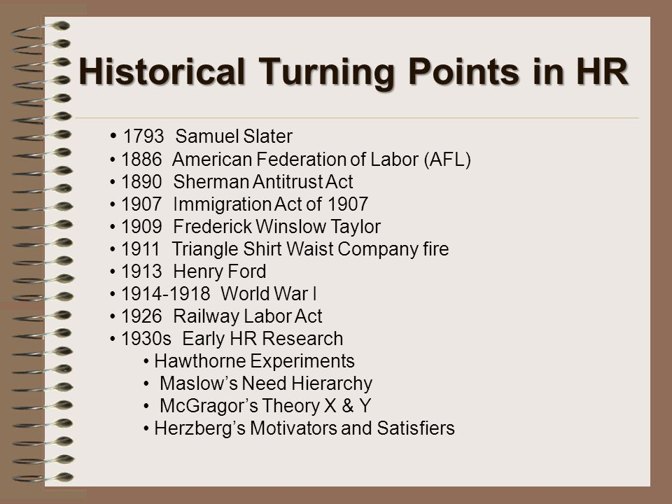 Historical Turning Points in HR