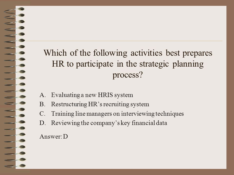 Which of the following activities best prepares HR to participate in the strategic planning process