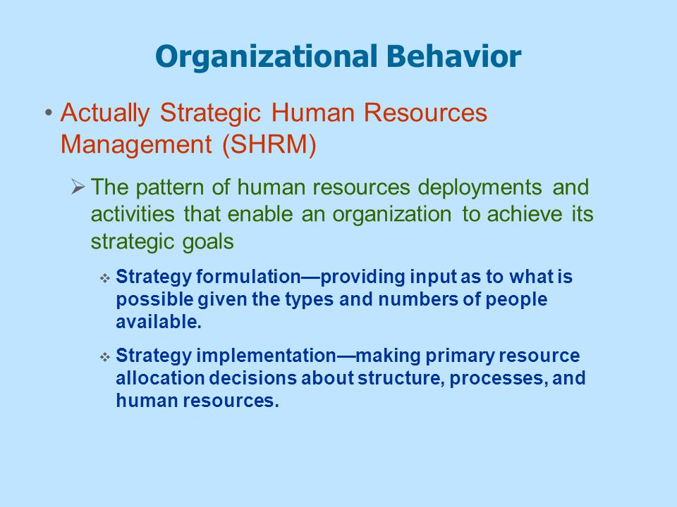 human resource management and organizational behaviour Human resource management and organizational behaviour lecture notes ©drs joan harvey and george erdos.