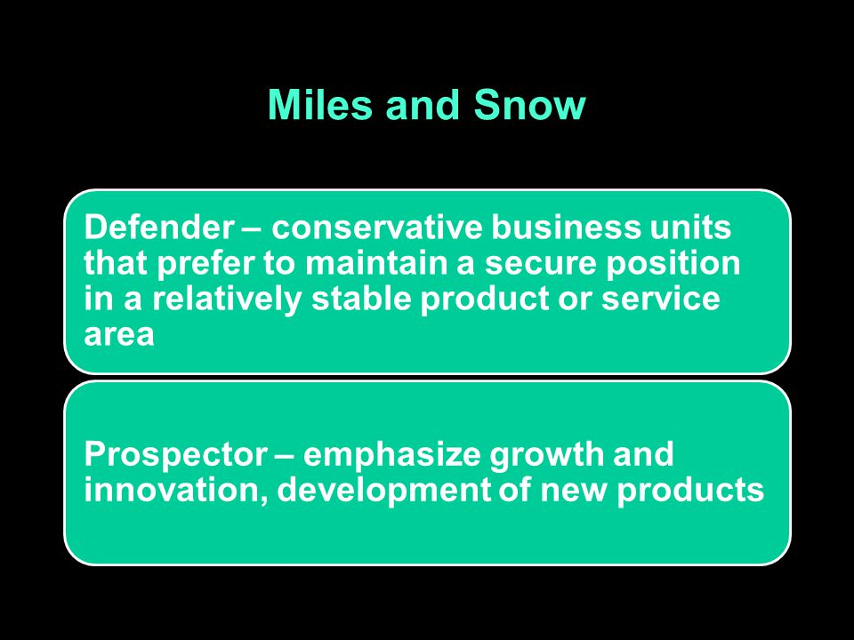 Miles and Snow Defender – conservative business units that prefer to maintain a secure position in a relatively stable product or service area.