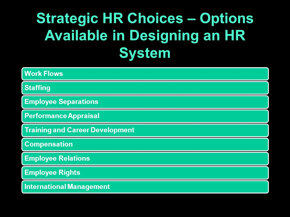 Strategic HR Choices – Options Available in Designing an HR System