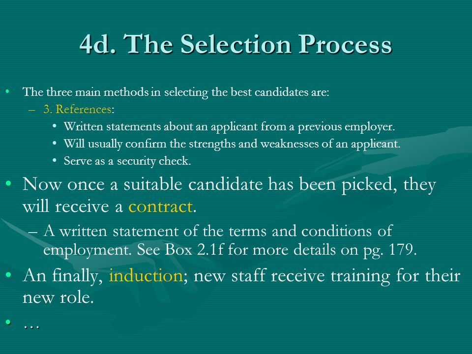 4d. The Selection Process