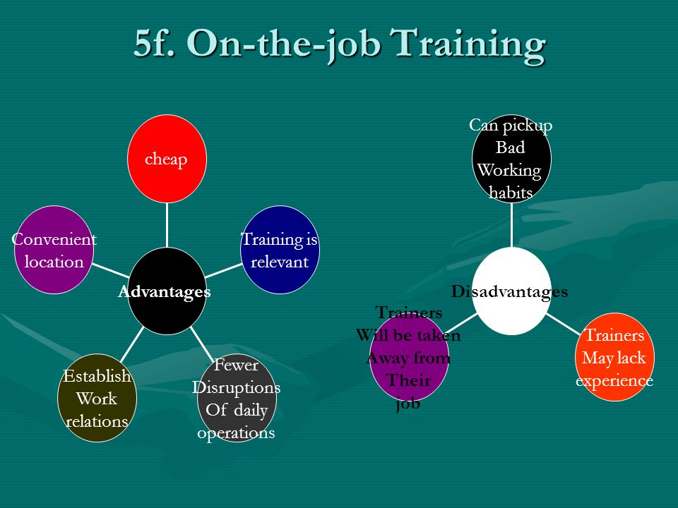 5f. On-the-job Training Convenient location Establish Work relations