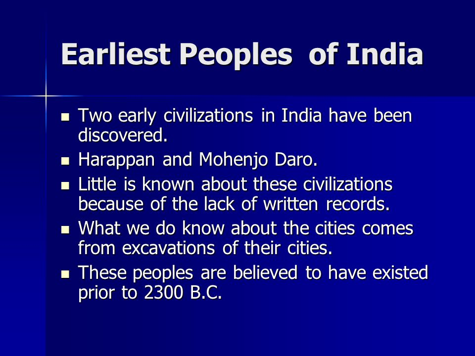 Earliest Peoples of India