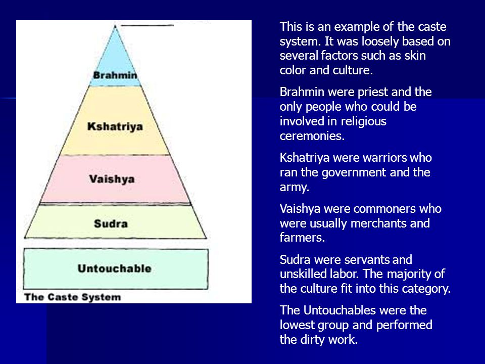 This is an example of the caste system
