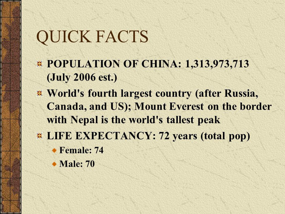 QUICK FACTS POPULATION OF CHINA: 1,313,973,713 (July 2006 est.)