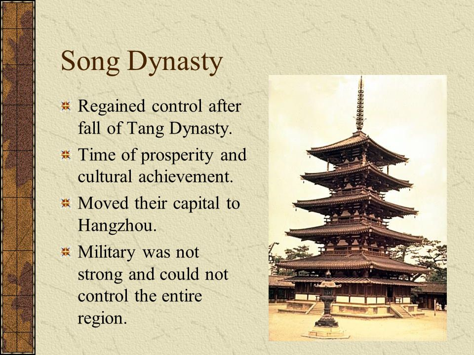 Song Dynasty Regained control after fall of Tang Dynasty.