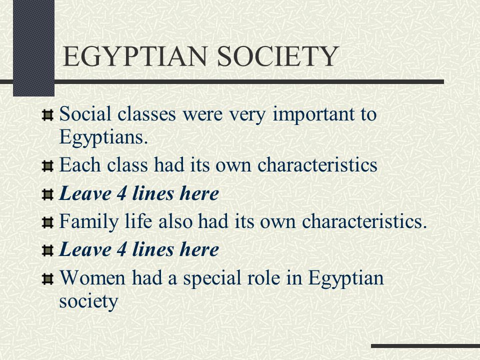 EGYPTIAN SOCIETY Social classes were very important to Egyptians.