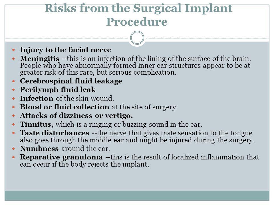 Risks from the Surgical Implant Procedure