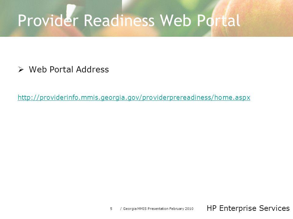Provider Readiness Web Portal