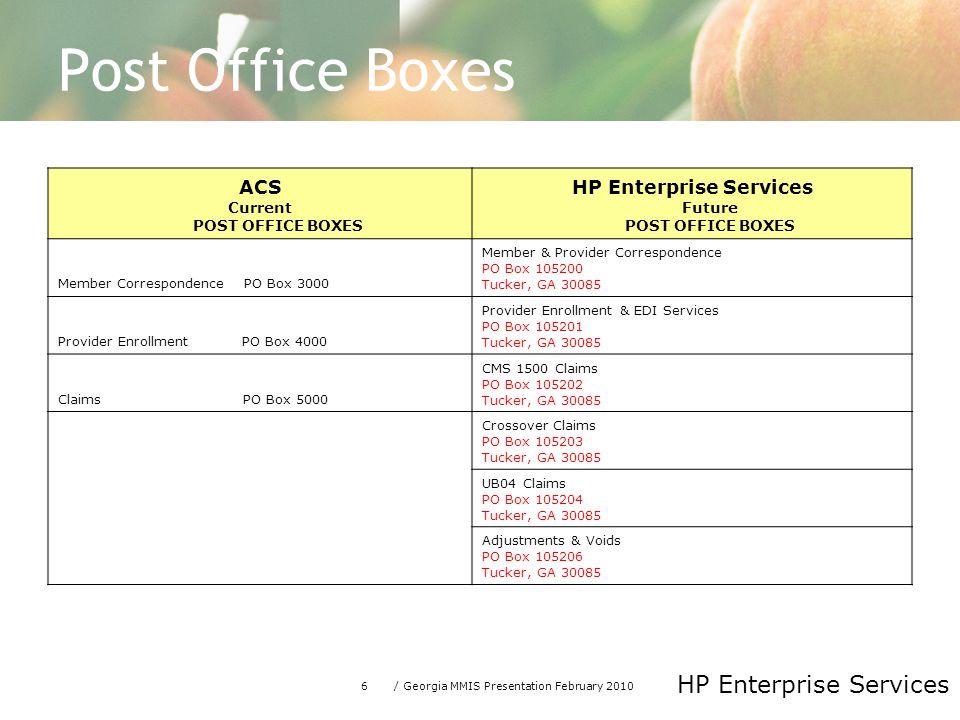 Post Office Boxes ACS HP Enterprise Services Future POST OFFICE BOXES