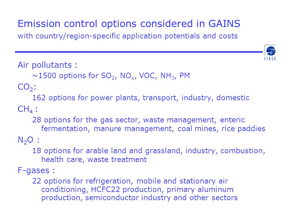 Emission control options considered in GAINS with country/region-specific application potentials and costs