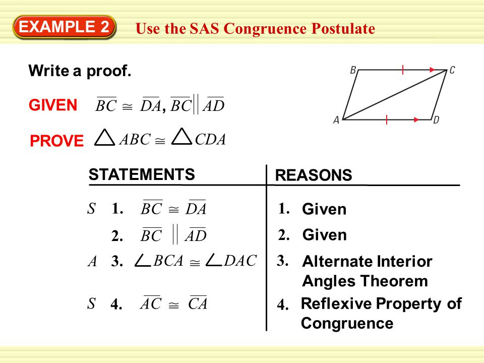 EXAMPLE 2 Use the SAS Congruence Postulate. Write a proof. GIVEN. BC DA, BC AD. PROVE. ABC CDA.