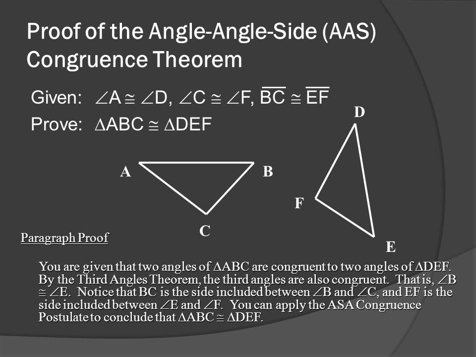 Proof of the Angle-Angle-Side (AAS) Congruence Theorem