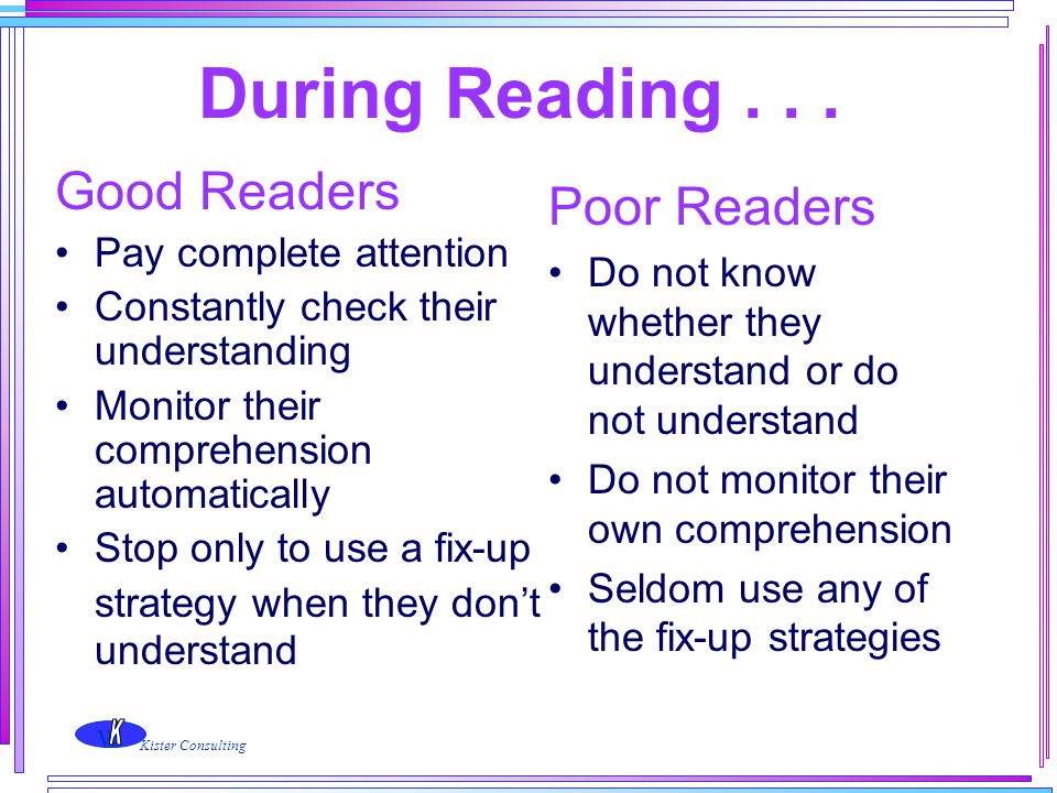 During Reading . . . Good Readers Poor Readers Pay complete attention