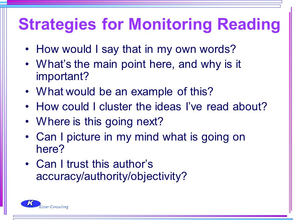 Strategies for Monitoring Reading